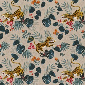 Tissu bachette effet lin motifs tigres sauvages