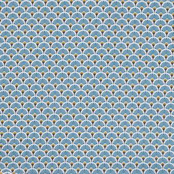 Tissu coton enduit imprimé japonais éventail bleu canard