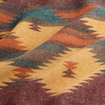Tissu lainage polyester aztèque bordeaux
