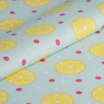 Tissu cretonne enduite citrons