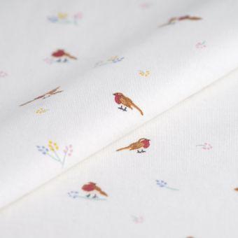 Tissu jersey coton blanc oiseaux