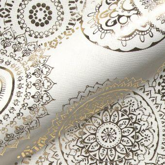Tissu coton épais Mandala doré fond blanc