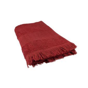 Drap de douche rouge à franges