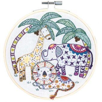 Kit cercle à broder Dans la Savane 15 cm- Un Chat dans l'Aiguille