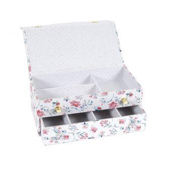 Boîte de couture fleurs rectangle