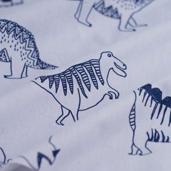 Tissu toile à draps dinosaures bleu
