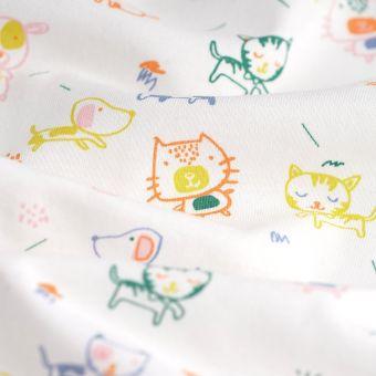 Tissu jersey coton chien et chat blanc