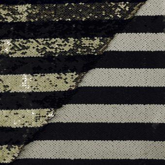 Tissu sequins réversibles or, noir et écru