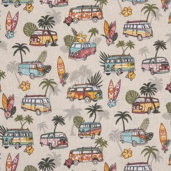Tissu coton imprimé van et vacances beige