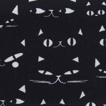 Tissu popeline de coton noir yeux de chats Dashwood Studio
