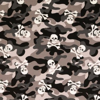 Tissu popeline de coton camouflage et skull gris