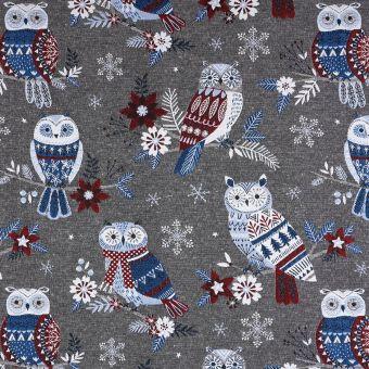 Tissu jacquard gris et bleu hiboux