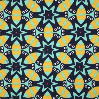 Tissu coton épais fleurs géométriques