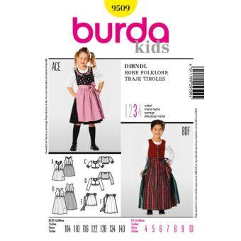 Patron Burda 9509 Kids Robe folklore de 4 à 10 ans