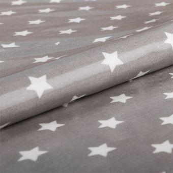 Tissu coton enduit PVC gris étoiles blanches - AU Maison