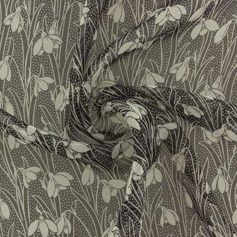 Tissu Liberty soie crêpe noir fleurs
