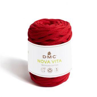 Pelote de fil Nova Vita 12 - coton recyclé rouge col n°5