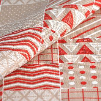 Toile de jute Noël motifs géométriques