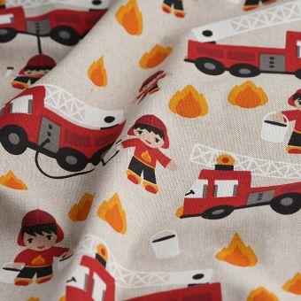 Tissu coton épais voitures de pompiers rouges