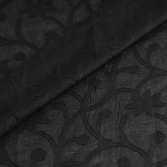 Tissu voile de coton noir arabesques