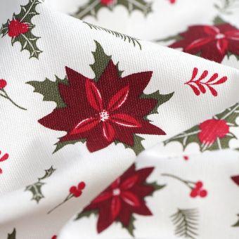 Tissu de Noël coton épais fleurs rouges