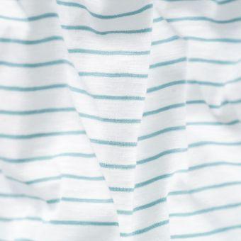 Tissu jersey coton slub rayures vertes blanches