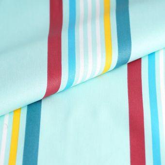 Tissu cretonne enduite rayures bleu turquoise