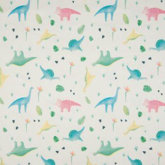 Tissu jersey de coton écru motifs petits dinosaures