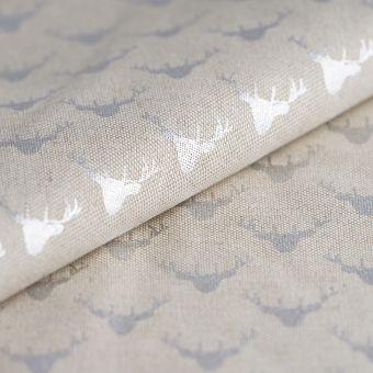 Tissu de Noël coton épais rennes argenté