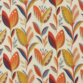 Tissu coton épais fleuris orange