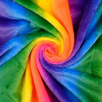 Tissu douillette arc en ciel multicolore
