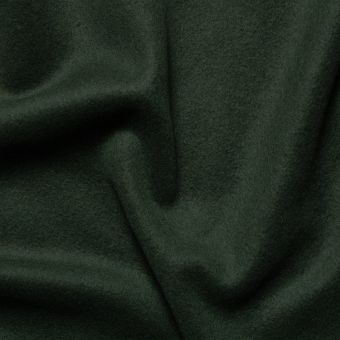 Tissu lainage manteau vert sapin uni fait en Italie