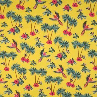 Tissu Tissu jersey de coton jaune motifs perroquets et palmiers