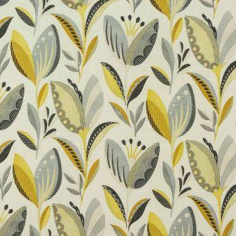Tissu coton épais fleuris ocre