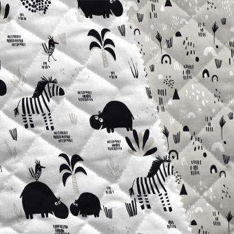 Tissu matelassé gris zèbres et hippos