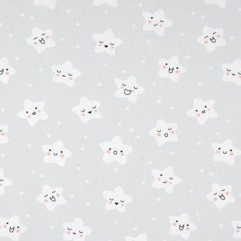 Tissu coton étoiles gris