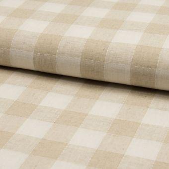 Toile beige naturel coton lin à grands carreaux écru