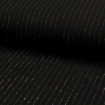 Tissu crêpe viscose noir à rayures lurex argent