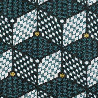 Tissu jacquard Lome géométrique bleu - Sophie Ferjani