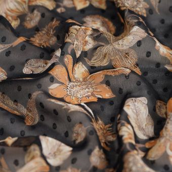 Tissu Voile plumetis polyester recyclé flor multi