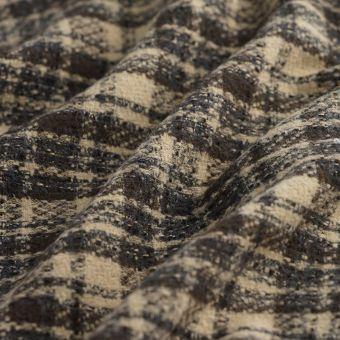 Tissu lainage manteau carreaux taupe