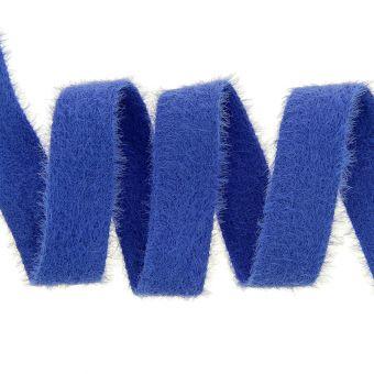 Ruban effet peluche doudou bleu roi 25 mm