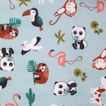 Cretonne de coton bleue à motifs animaux sauvages multicolores