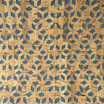 Tissu denim et liège à découpes geometriques