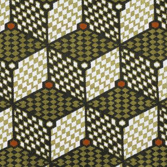 Tissu jacquard Lome géométrique jaune - Sophie Ferjani