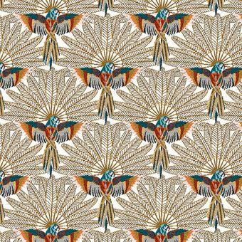 Tissu jacquard perroquets Carlos blanc