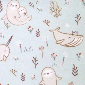 Cretonne coton bleue ciel à motifs animaux marins