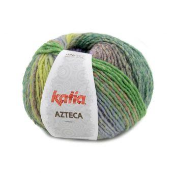 Pelote de fil à tricoter Katia Azteca violet pistache orange