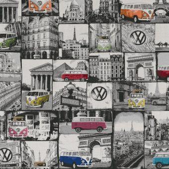 Tissu jacquard mini-bus volkswagen à Paris