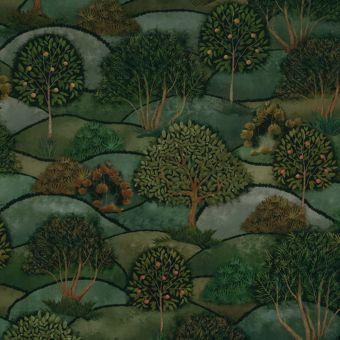 Tissu velours vert paysage vallonné